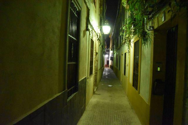 Foto de una estrecha calle cordobesa de noche, farolillos encendidos, plantas que caen desde las ventanas y se aprecia que la calle no es recta del todo
