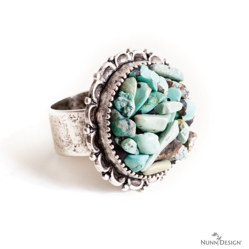 DIY ring with stones and rock chips . Statement boho style