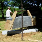A special milestone completing the cemetary transfer arrived and was installed 5 May.