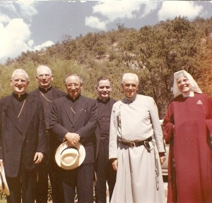 Archbishop Byrne of Santa Fe with the Apostolic Delegation visiting Father Gerald, sP and Mother Dolorosa, HPB.