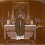 Father Gerald saying Mass in Saint Anne's chapel at Cor Jesu Monastery in Jemez Springs, NM.