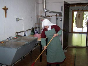Cleaning up in the laundry room.