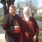 Archbishop Burke and Rev. Mother Marietta at Heart of Mary Priory, Illinois in 2010