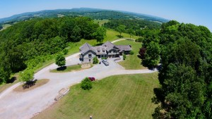 Aerial view of the house on our new property.