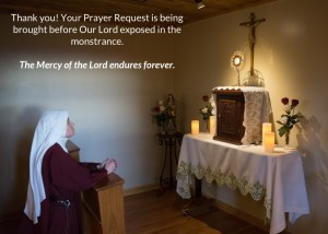 Thank you! Your Prayer Request is being brought before Our Lord exposed in the monstrance. The Mercy of the Lord endures forever.