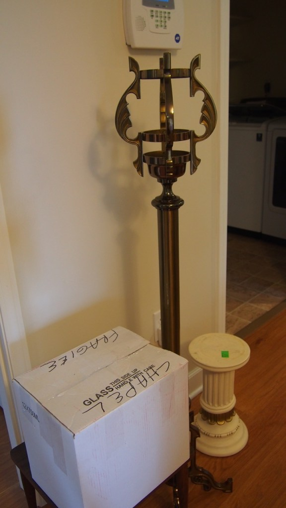 Candles, Sanctuary Lamp Stand, and a Pedestal from the Heart of Mary Priory