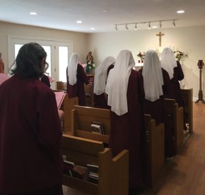 The community gathered in Chapel to sing hymns, pray the Rosary and Marian Litany before crowning the statue of Our Lady.