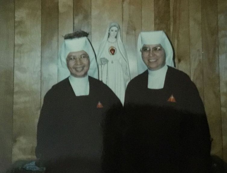 Sister Guadalupe of the day of her final vows with Mother Jonpaul twenty-five years ago.