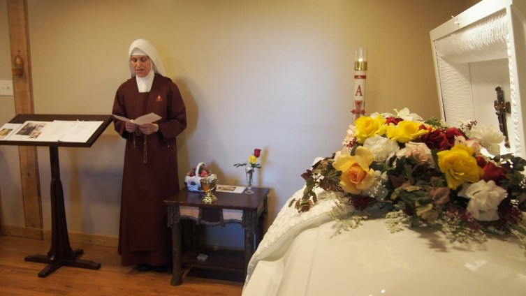 Sister leads the Rosary