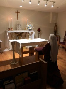 Severals nights a week, each Handmaid enjoys Nocturnal Adoration.