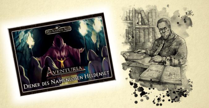 """Cover des Aventuria-Heldenspielsets """"Diener des Namenlosen"""" und Darstellung Engors"""