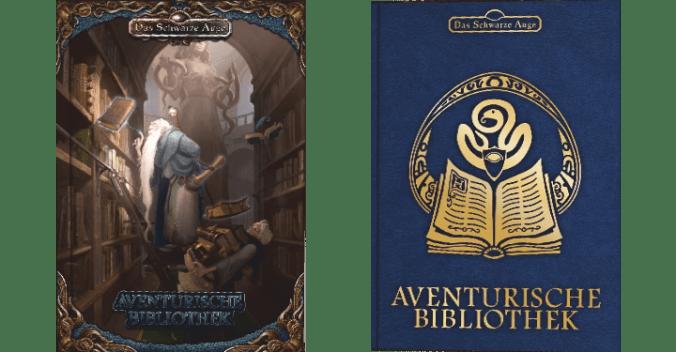 Cover der regulären und der limitierten blauen Ausgabe von Aventurische Bibliothek