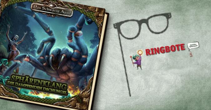 Cover der Sphärenklang-CD zu Die Dampfenden Dschungel und Logo des Ringboten
