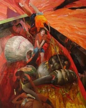 Chiara Sorgato, Fame(la stessa barca ovvero delirio sul mare),olio su tela 120x150cm, 2014