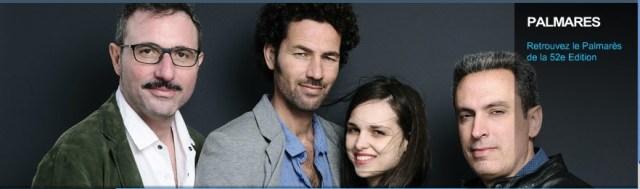 I registi Fabtio Grassadonia e Antonio Piazza (ai lati) e i due protagonisti Saleh Bakri e Sara Serraiocco alla Semaine de la Crique.