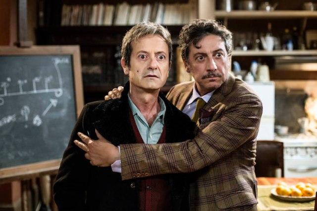 """Sergio Castellitto e Rocco Papaleo durante una scena del film """"La Buca"""", regia di Daniele Ciprì Roma-Svizzera 2013-2014"""