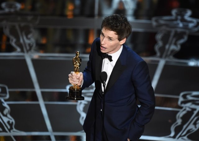Eddie Redmayne ha vinto con il suo Stephen Hawking (foto dal sito dell'Oscar)