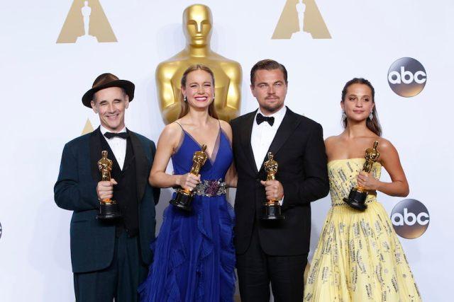 da sinistra: Rylance, Larson, DiCaprio, Vikander (foto dal sito degli Oscar)