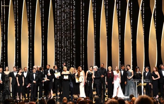 Giuria e vincitori. Foto Alberto Rizzoli/AFP. Dal sito del festival di Cannes.