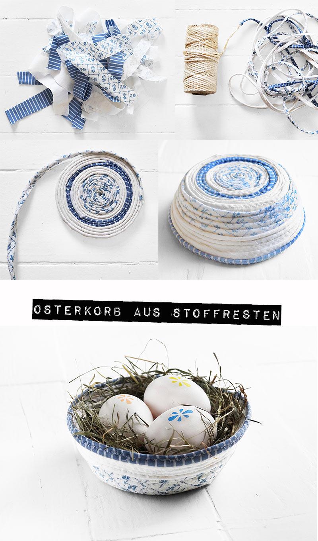 Osterkorb aus Stoffresten by Nur noch