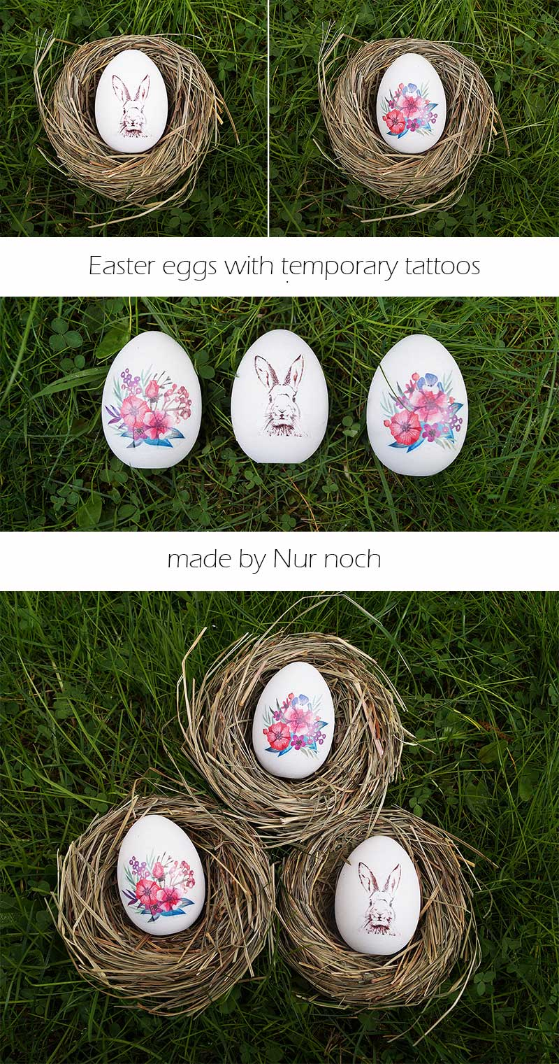 easter eggs with temporary tattoos by Nur noch