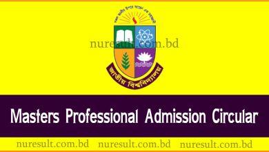 Masters Professional Admission Circular