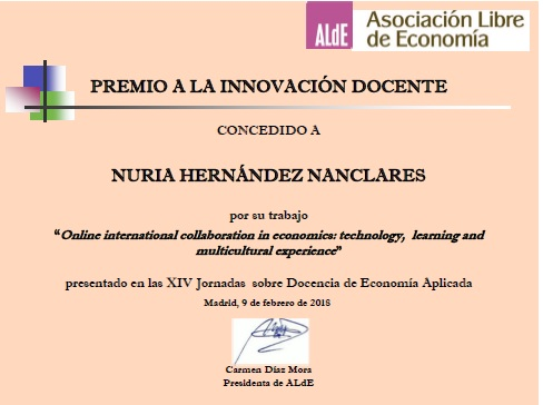 Certificado premio ALDE