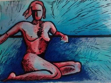 Modelo femenino. Lino grabado con tinta y acuarela.