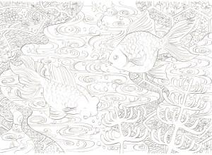 金魚と和の模様の塗り絵