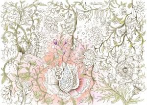 蔓状の花々の細密な塗り絵