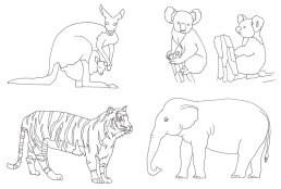 動物のなぞり絵の完成見本