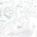 面白い模様の魚の塗り絵