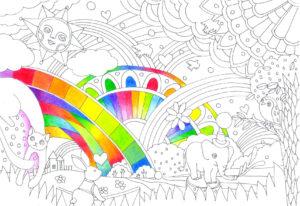 虹の塗り絵の塗り始め
