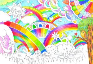 虹と空の部分の完成