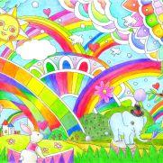 虹の塗り絵の完成図