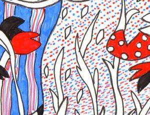 花の塗り絵の点描部分