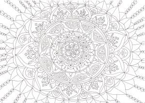 花が散りばめられたマンダラの塗り絵