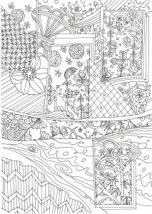 和の模様の塗り絵