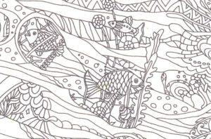 太枠のない魚の塗り絵