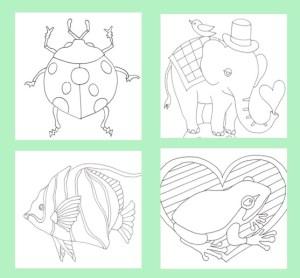 テントウムシとゾウと魚とカエルの塗り絵