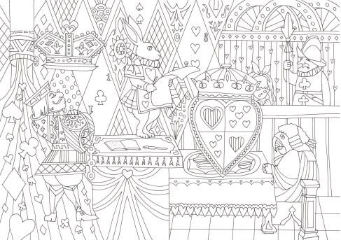 アリスの裁判のシーンの塗り絵