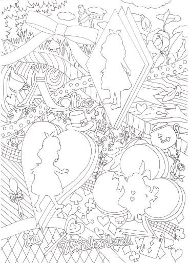 アリスのシルエットの塗り絵