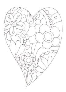 花模様ハートの塗り絵