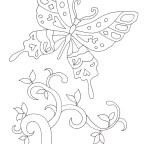 蝶と木の塗り絵