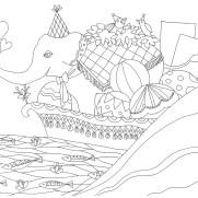 船に乗るゾウの塗り絵