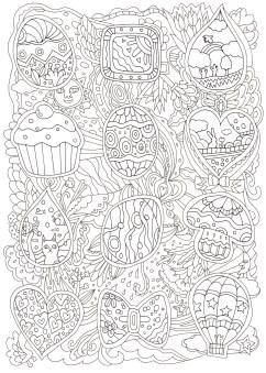 お菓子の模様の塗り絵