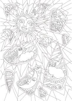 太陽とフクロウの塗り絵