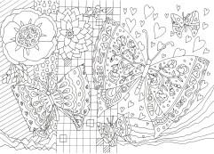 二匹の長と花の塗り絵