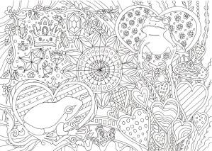カエルの細かい塗り絵