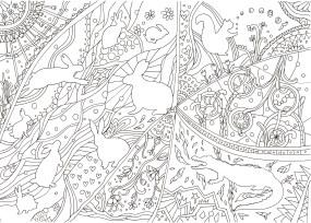 うさぎのシルエットの塗り絵